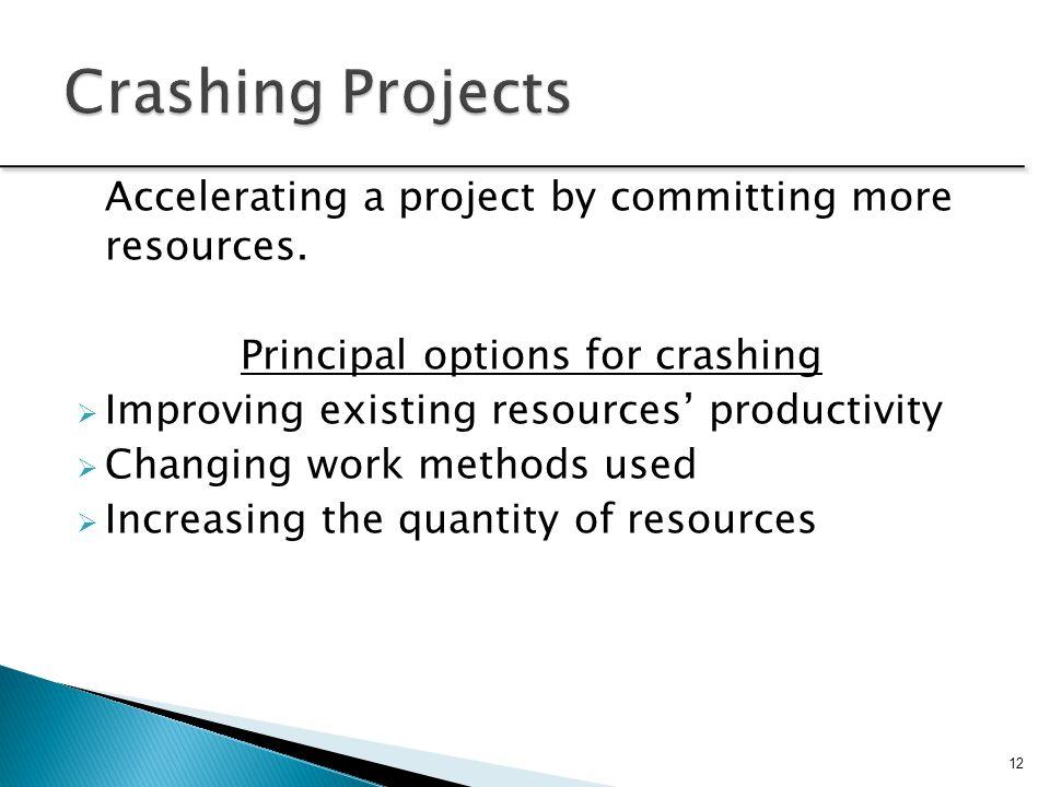 Principal options for crashing