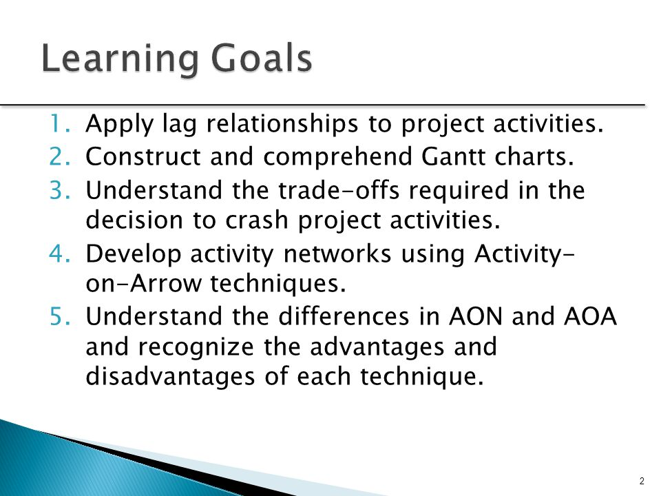 Learning Goals Apply lag relationships to project activities.