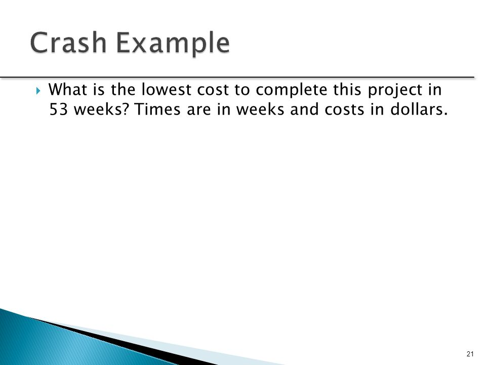 Crash Example What is the lowest cost to complete this project in 53 weeks.