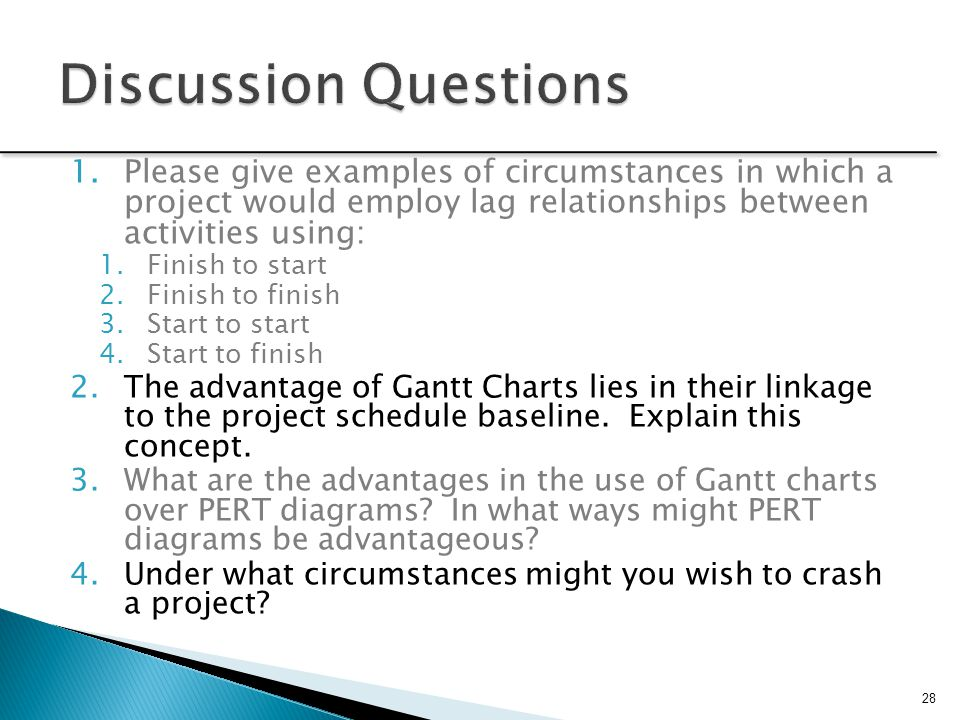 Discussion Questions Please give examples of circumstances in which a project would employ lag relationships between activities using:
