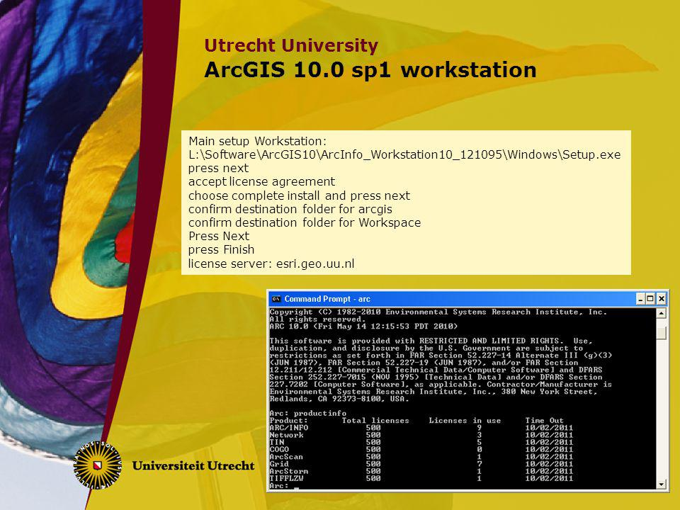 ArcGIS 10.0 sp1 workstation Main setup Workstation: