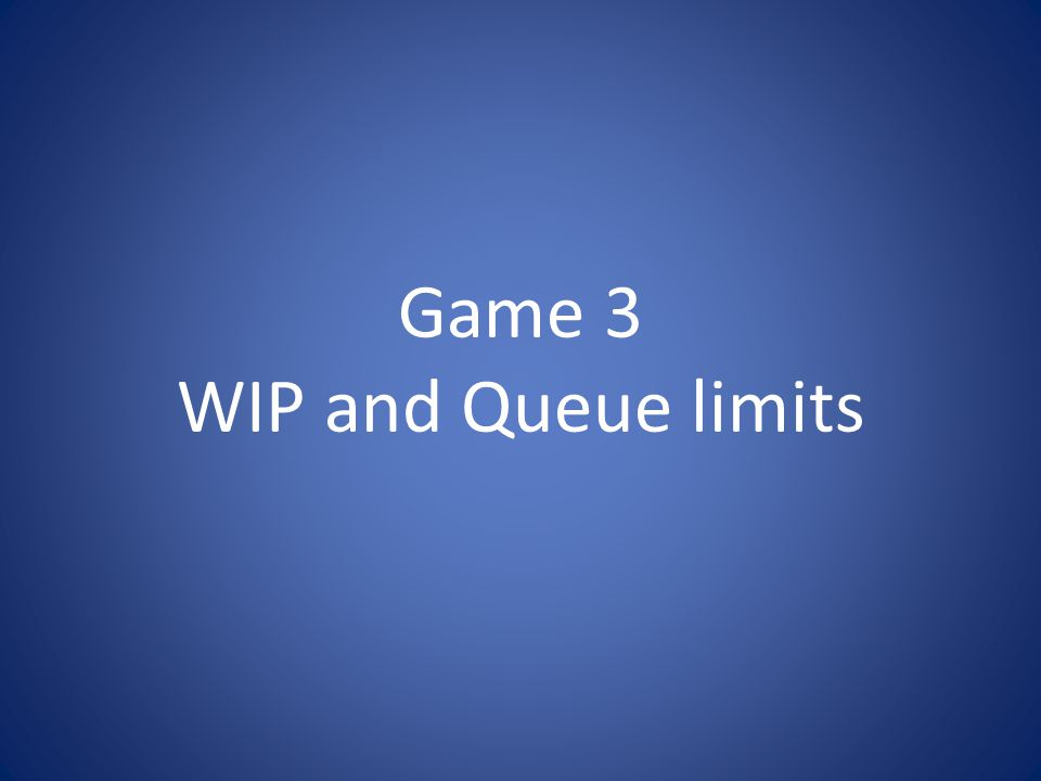 Game 3 WIP and Queue limits