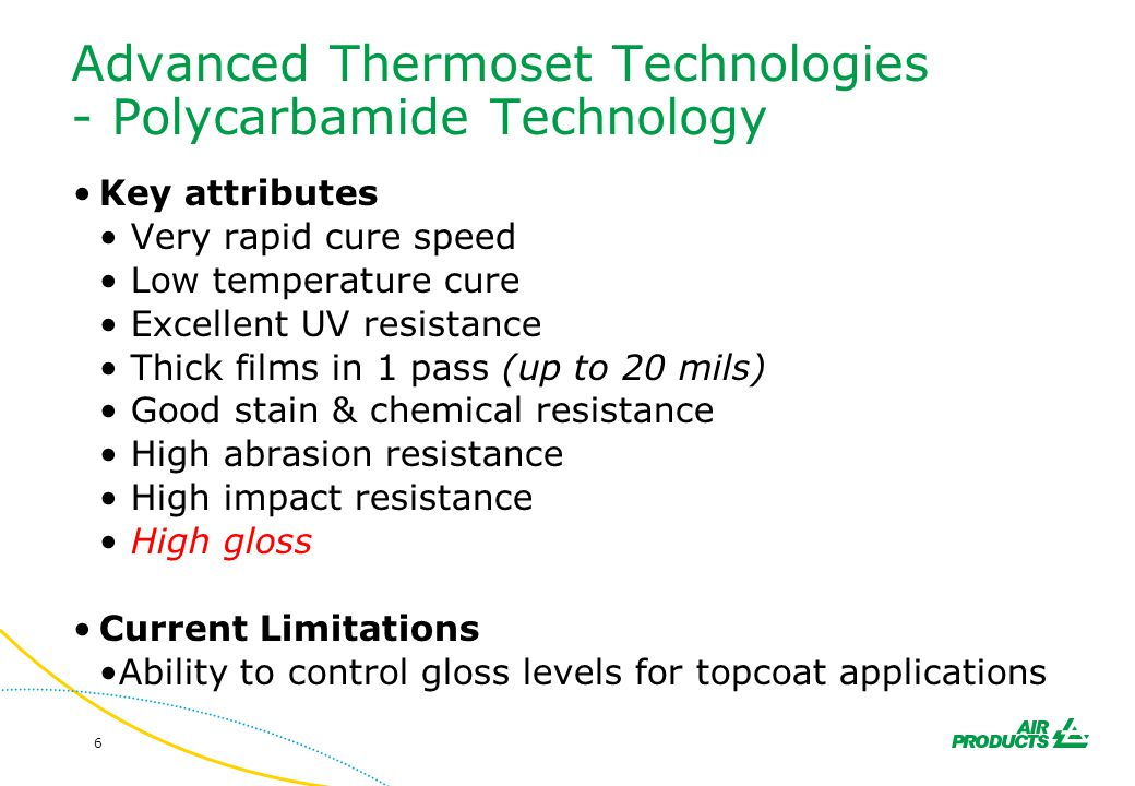 Advanced Thermoset Technologies - Polycarbamide Technology
