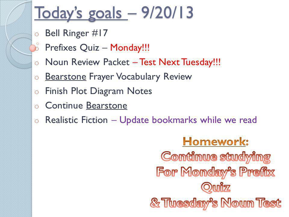 For Monday's Prefix Quiz