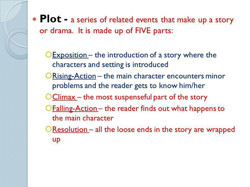 Plot - a series of related events that make up a story or drama