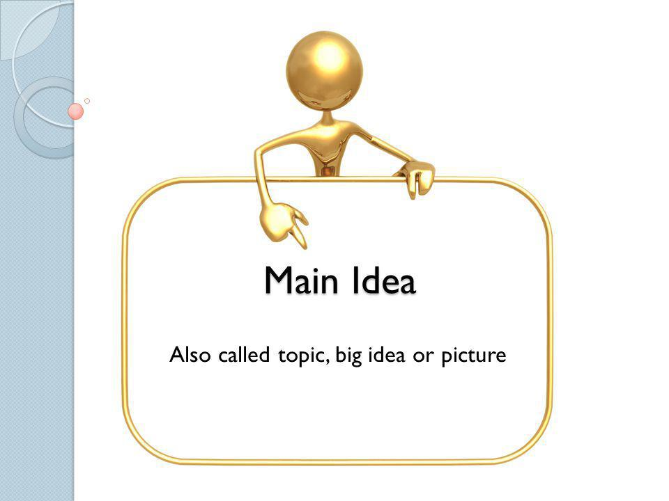 Also called topic, big idea or picture