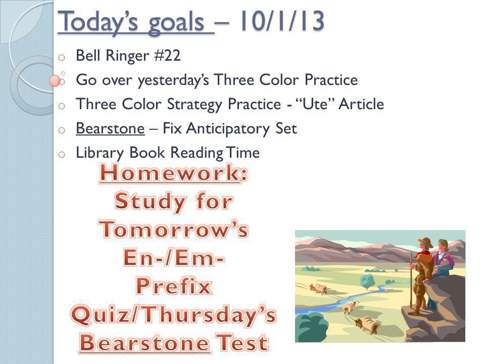 Prefix Quiz/Thursday's Bearstone Test