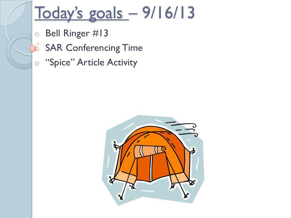 Bell Ringer #13 SAR Conferencing Time Spice Article Activity