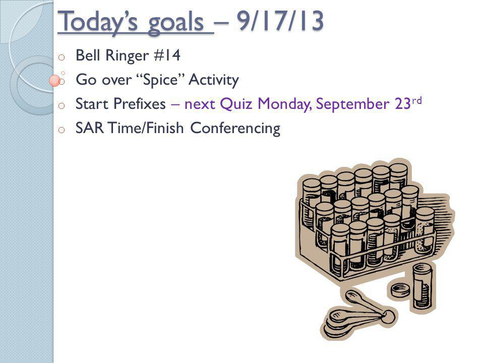 Today's goals – 9/17/13 Bell Ringer #14 Go over Spice Activity