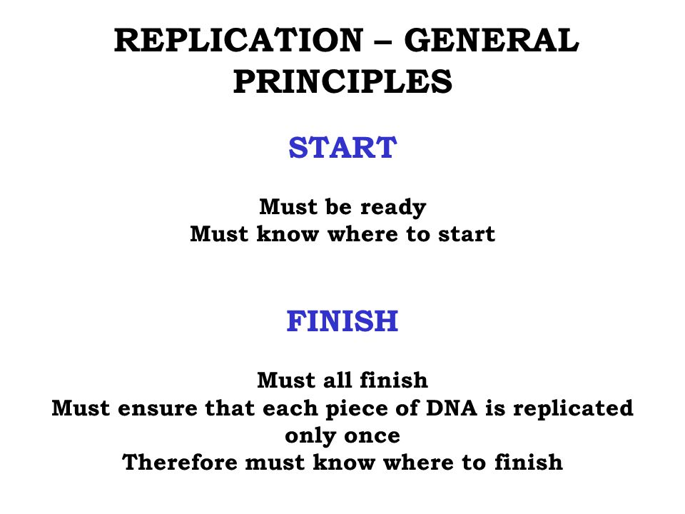 START FINISH REPLICATION – GENERAL PRINCIPLES Must be ready