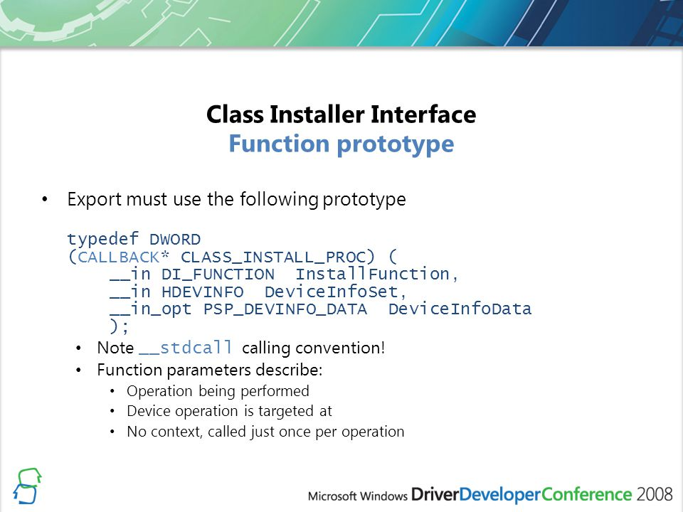 Class Installer Interface Function prototype