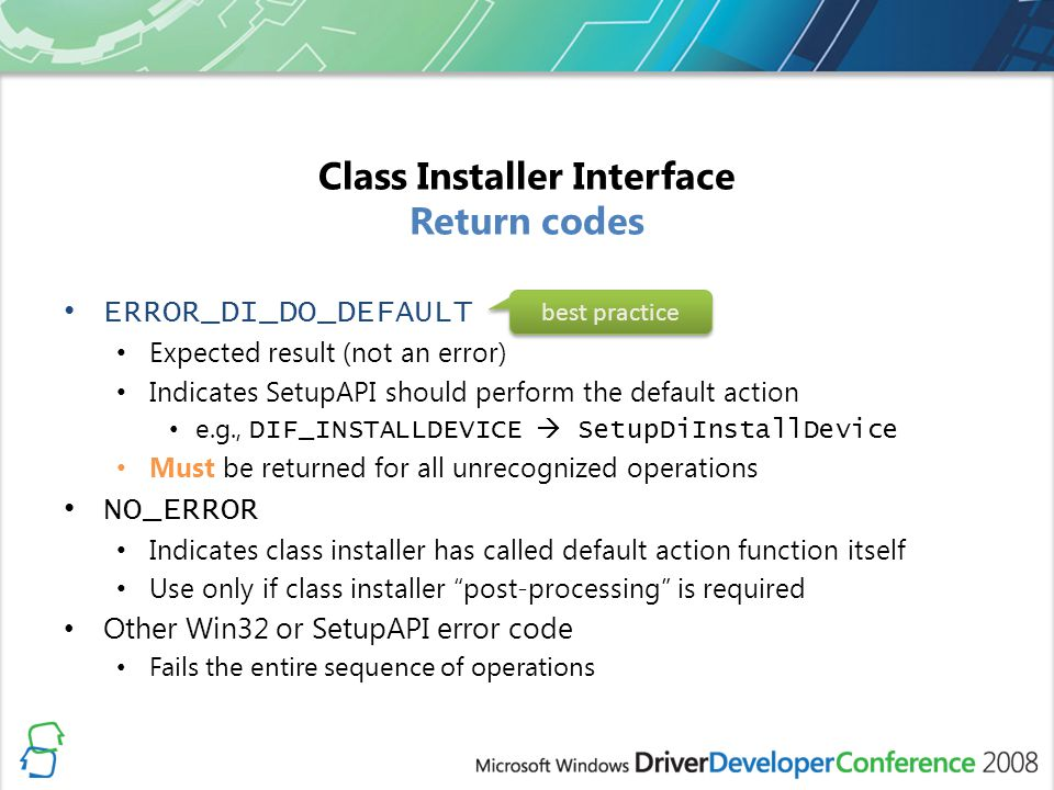Class Installer Interface Return codes