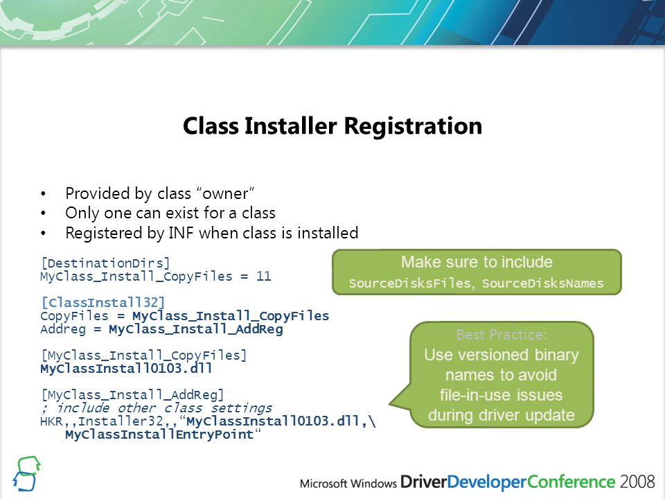 Class Installer Registration