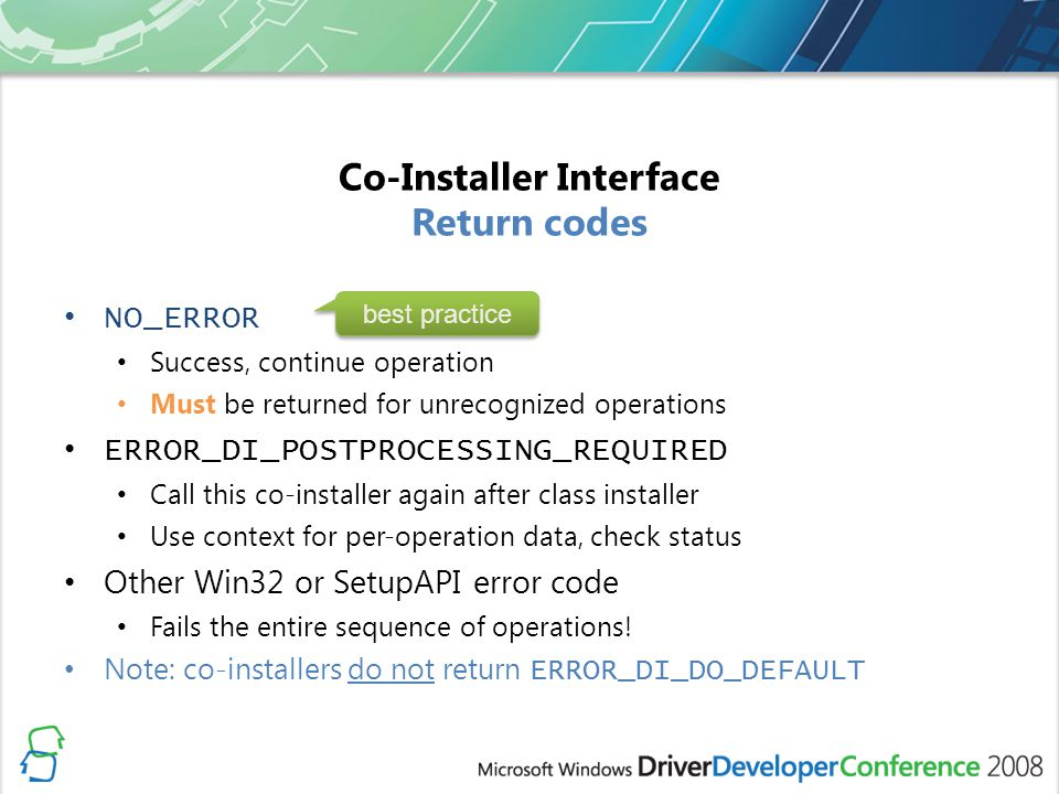 Co-Installer Interface Return codes