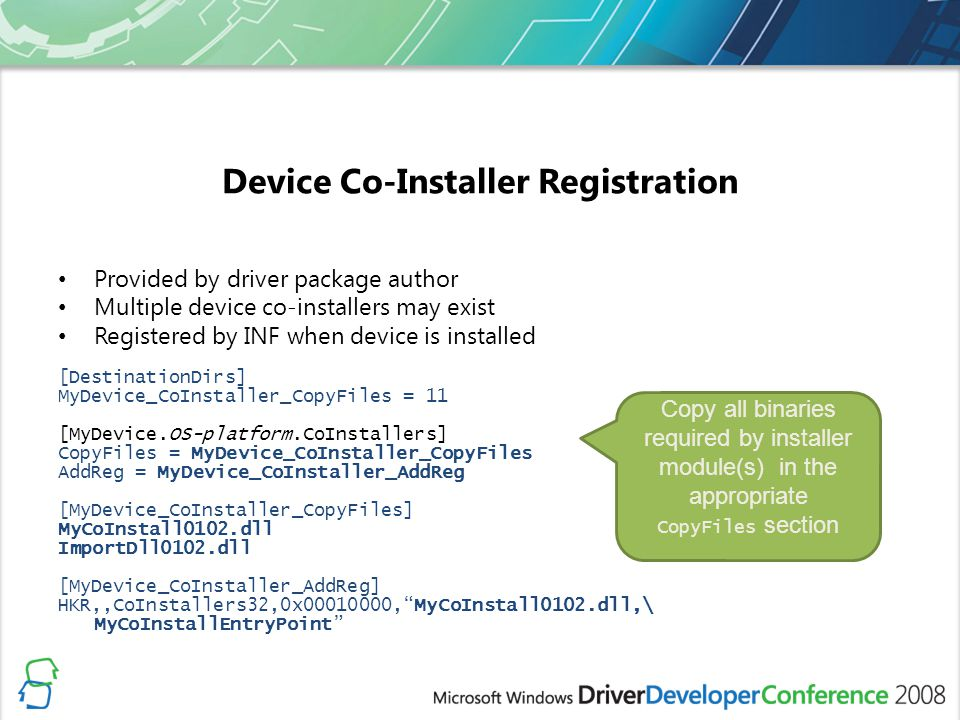 Device Co-Installer Registration