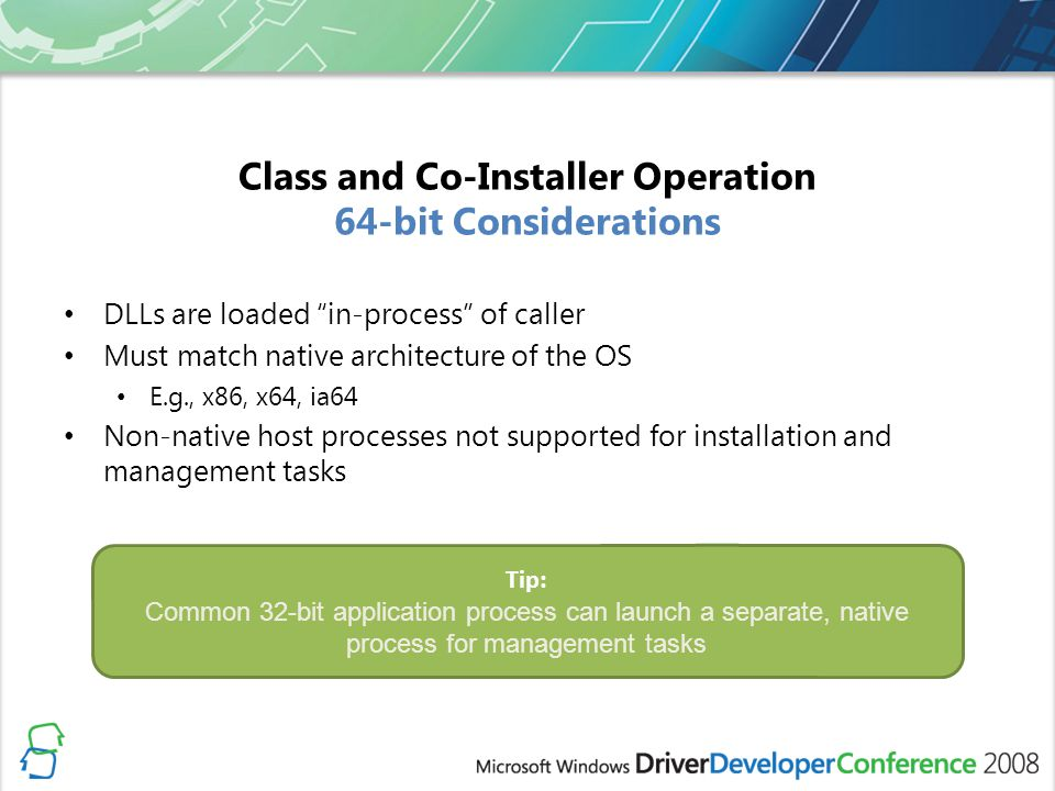 Class and Co-Installer Operation 64-bit Considerations
