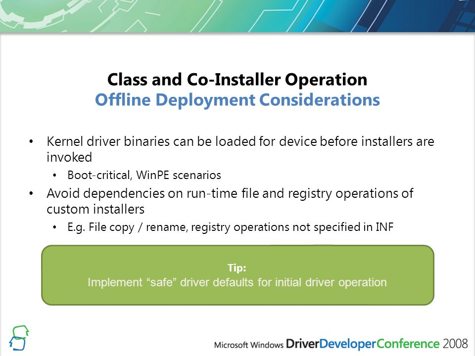Class and Co-Installer Operation Offline Deployment Considerations