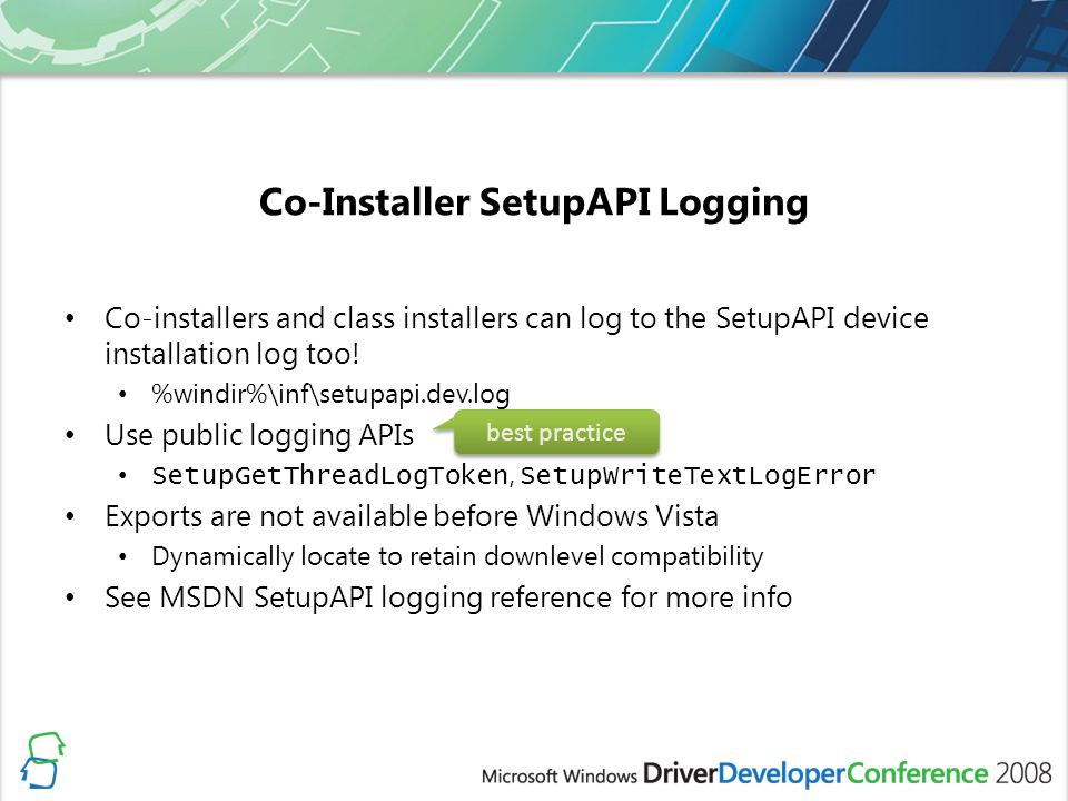 Co-Installer SetupAPI Logging