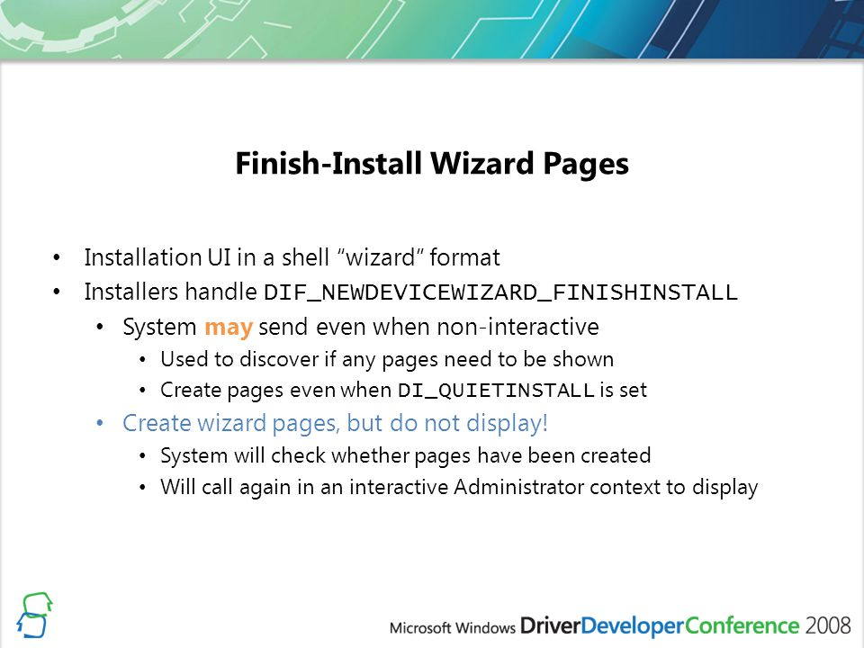 Finish-Install Wizard Pages