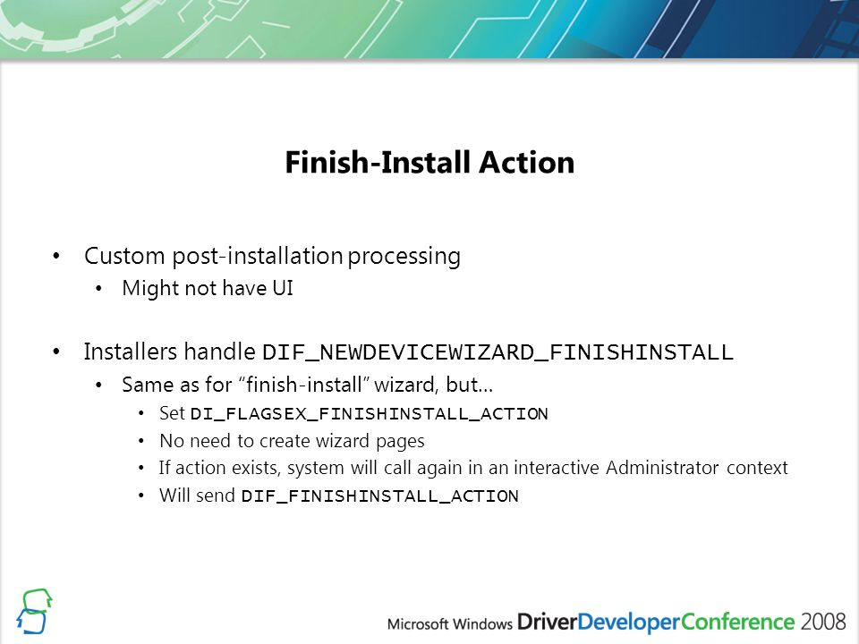 Finish-Install Action
