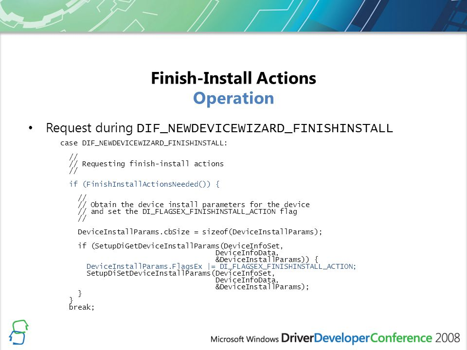 Finish-Install Actions Operation