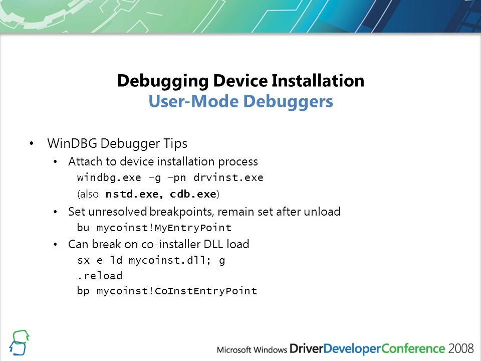 Debugging Device Installation User-Mode Debuggers