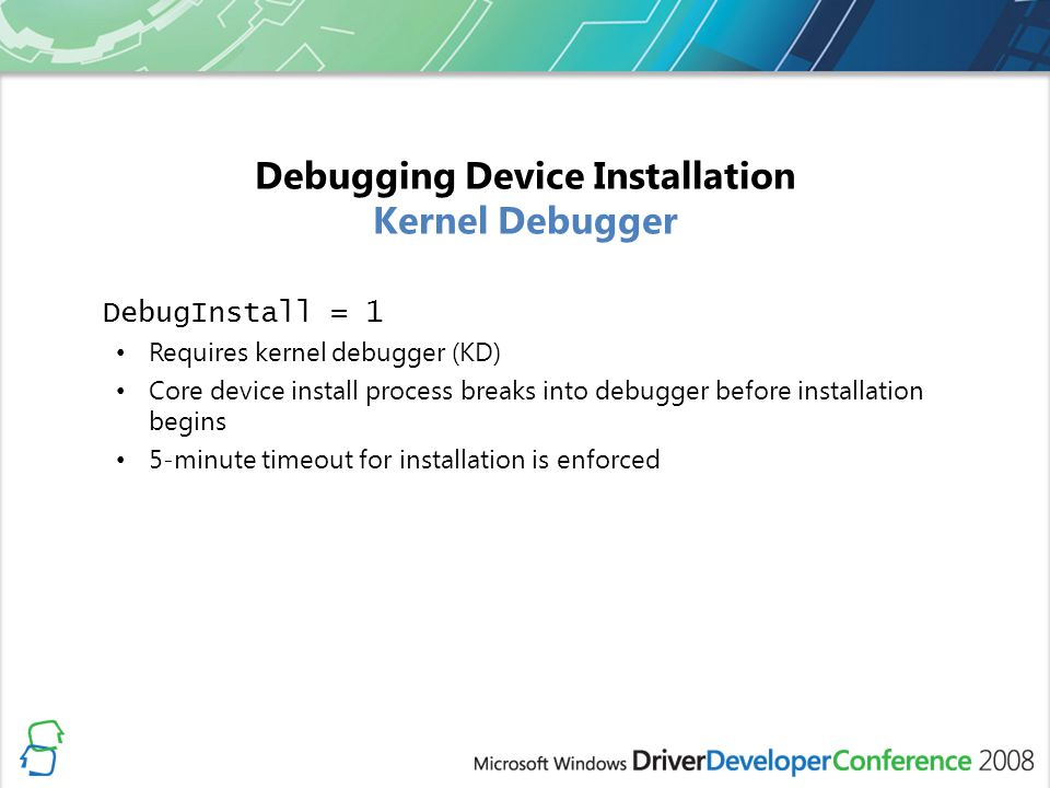 Debugging Device Installation Kernel Debugger