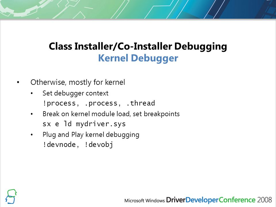Class Installer/Co-Installer Debugging Kernel Debugger
