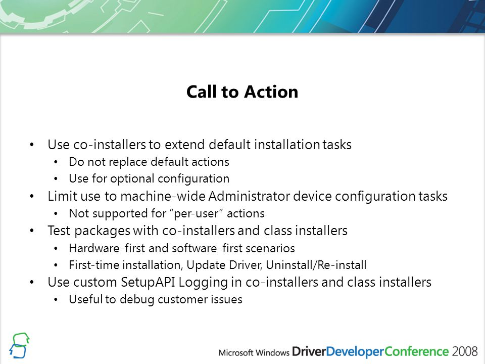 Call to Action Use co-installers to extend default installation tasks