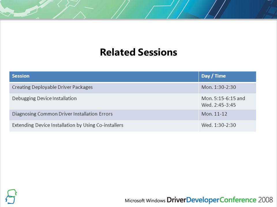 Related Sessions Session Day / Time