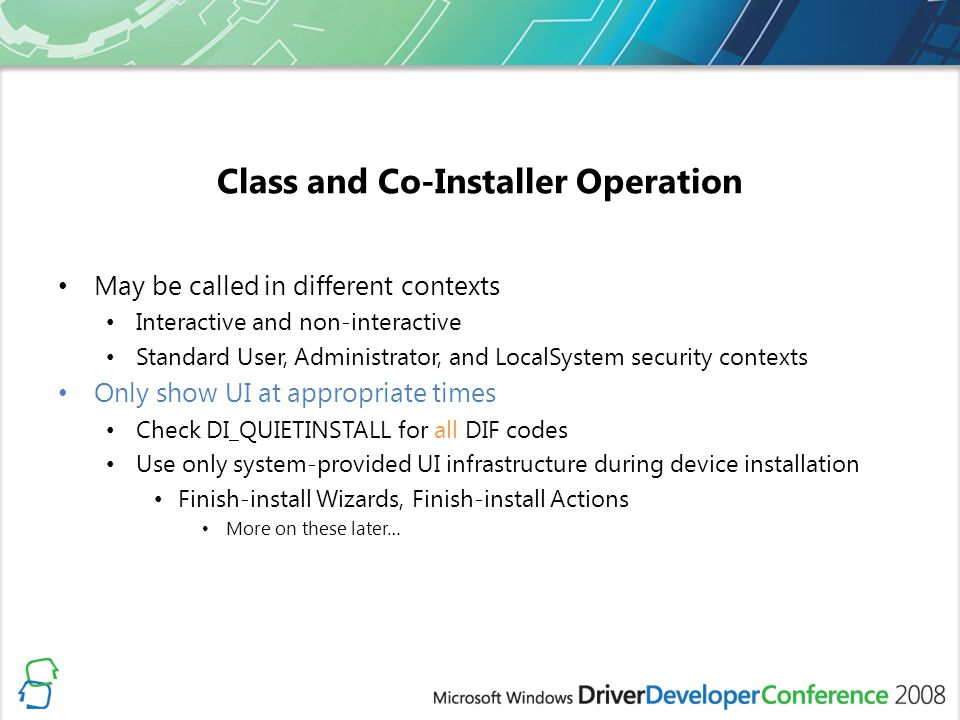 Class and Co-Installer Operation