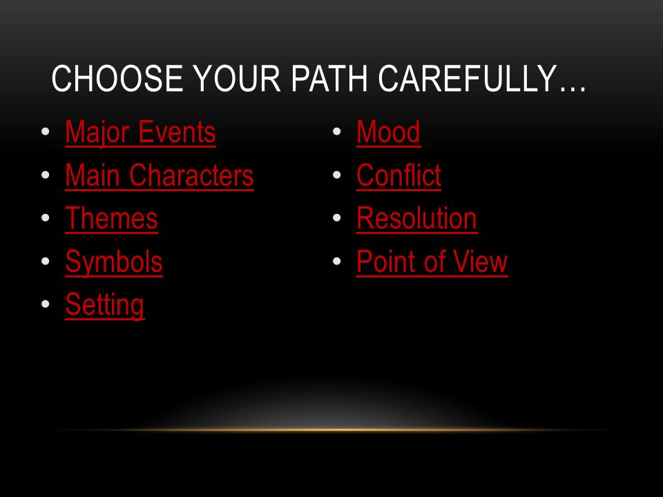 Choose Your Path Carefully…