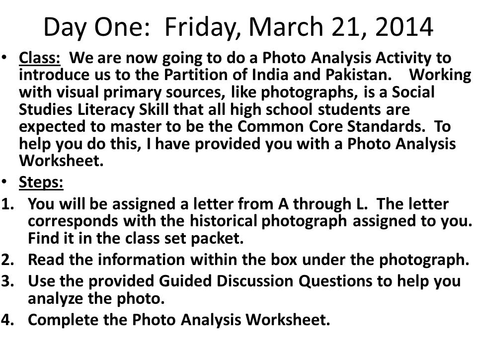 Day One: Friday, March 21, 2014