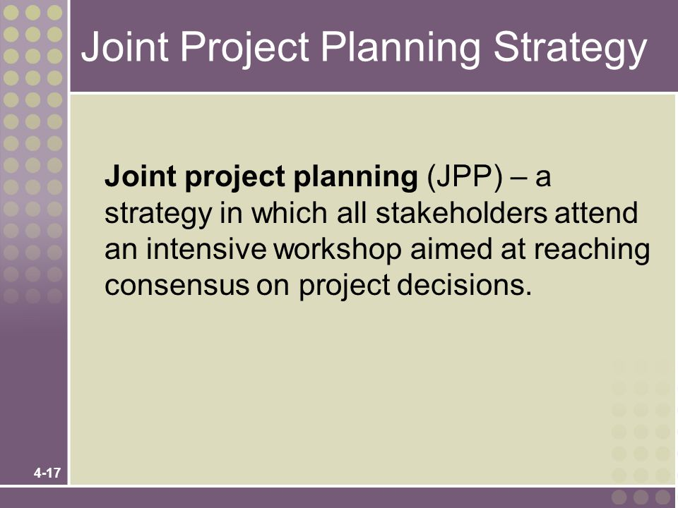 Joint Project Planning Strategy
