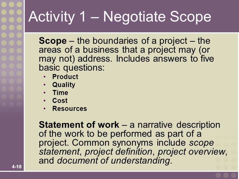 Activity 1 – Negotiate Scope