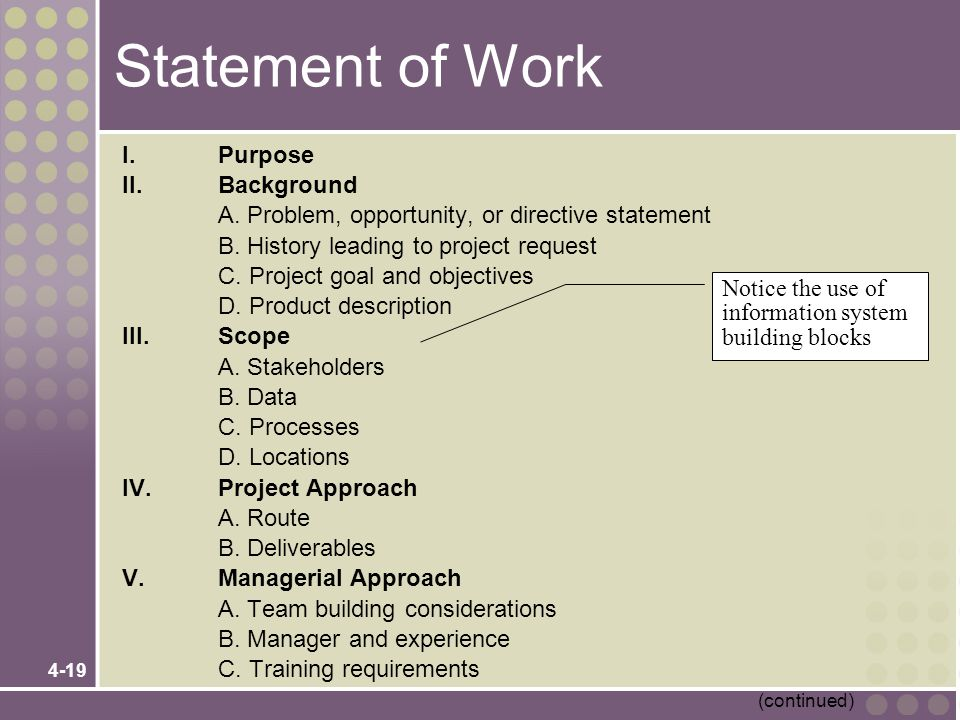 Statement of Work I. Purpose II. Background