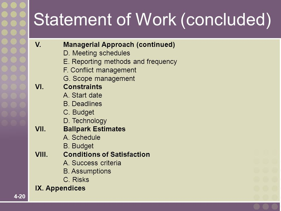 Statement of Work (concluded)
