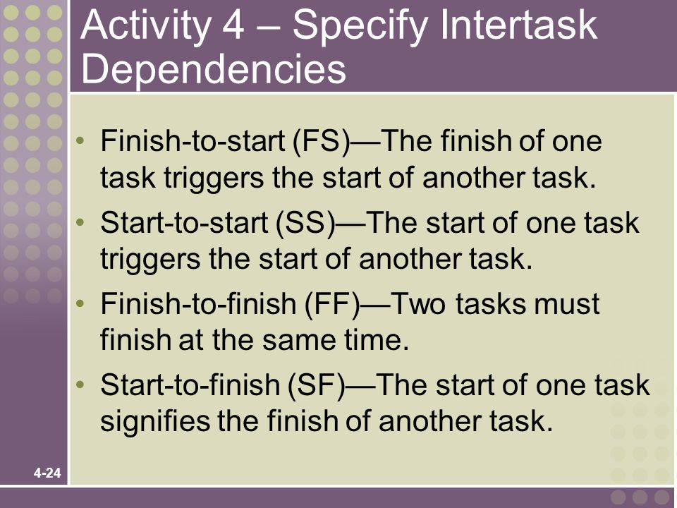 Activity 4 – Specify Intertask Dependencies