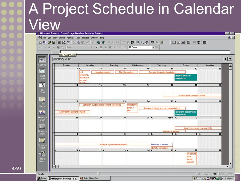 A Project Schedule in Calendar View