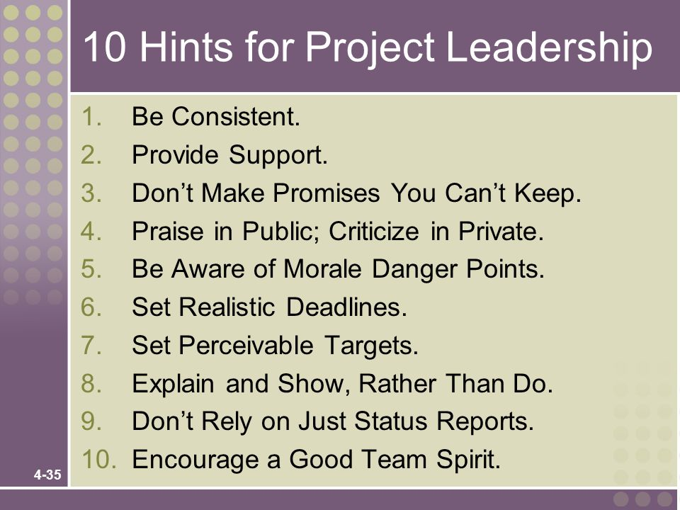 10 Hints for Project Leadership