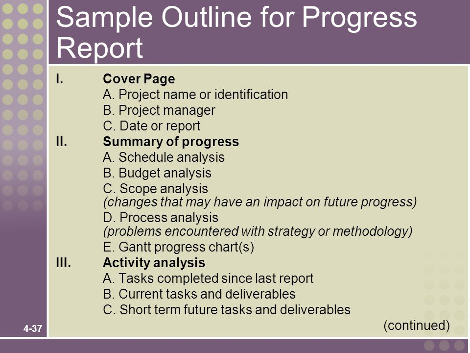 Sample Outline for Progress Report