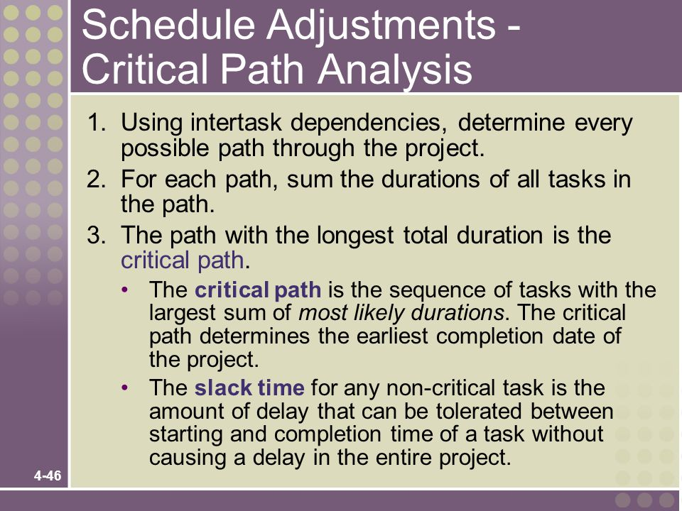 Schedule Adjustments - Critical Path Analysis