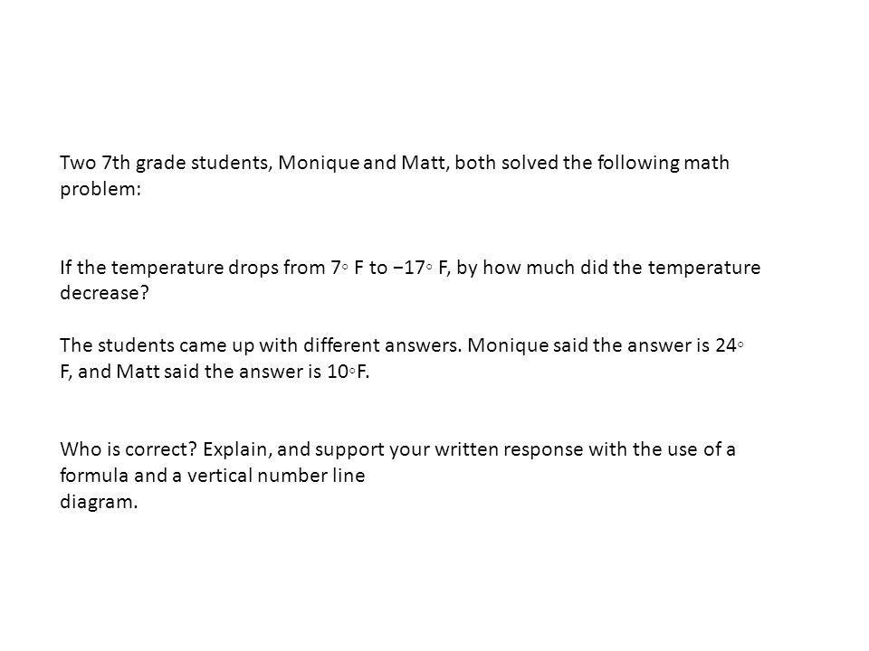 Two 7th grade students, Monique and Matt, both solved the following math problem: