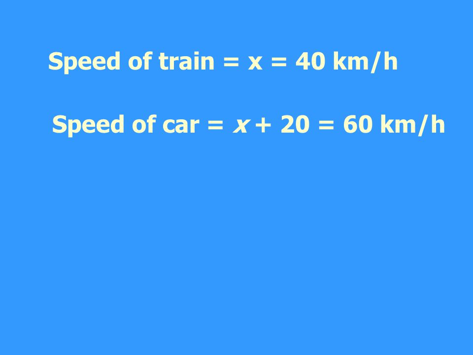 Speed of train = x = 40 km/h Speed of car = x + 20 = 60 km/h