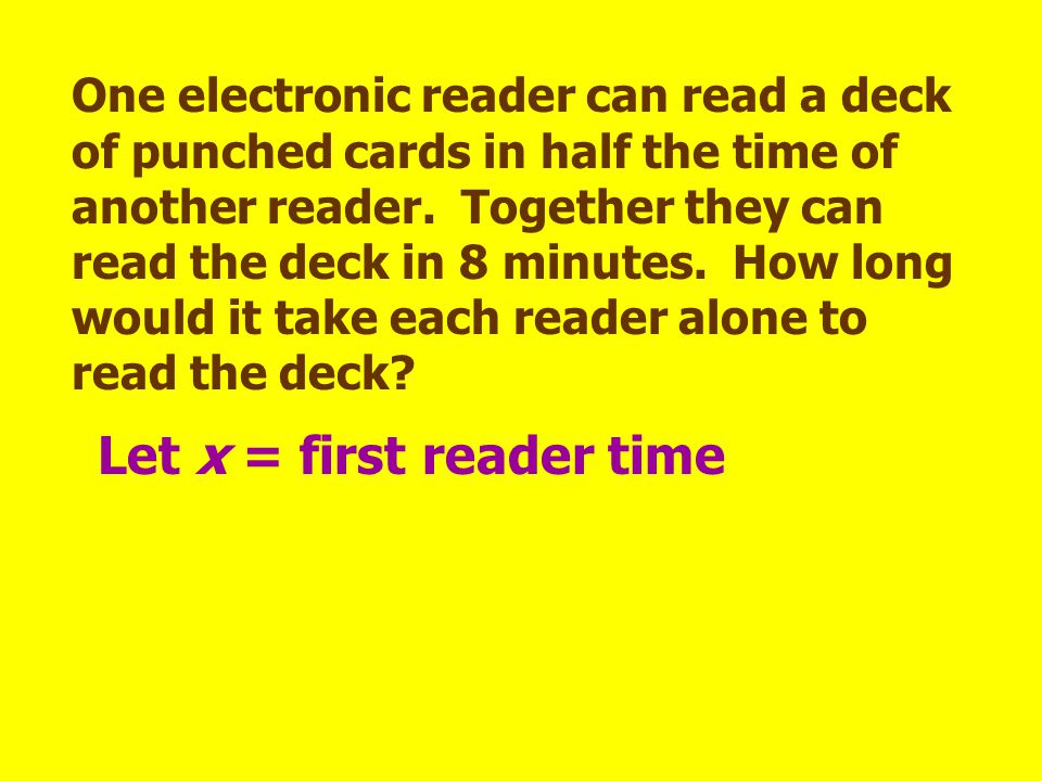 Let x = first reader time