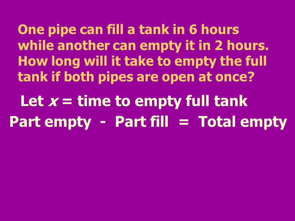 Let x = time to empty full tank Part empty - Part fill = Total empty