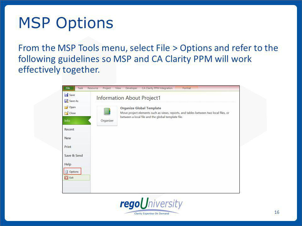 MSP Options