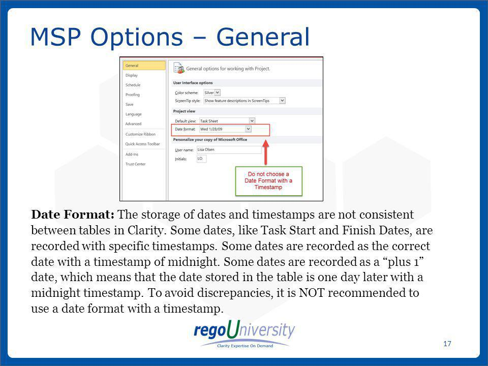 MSP Options – General