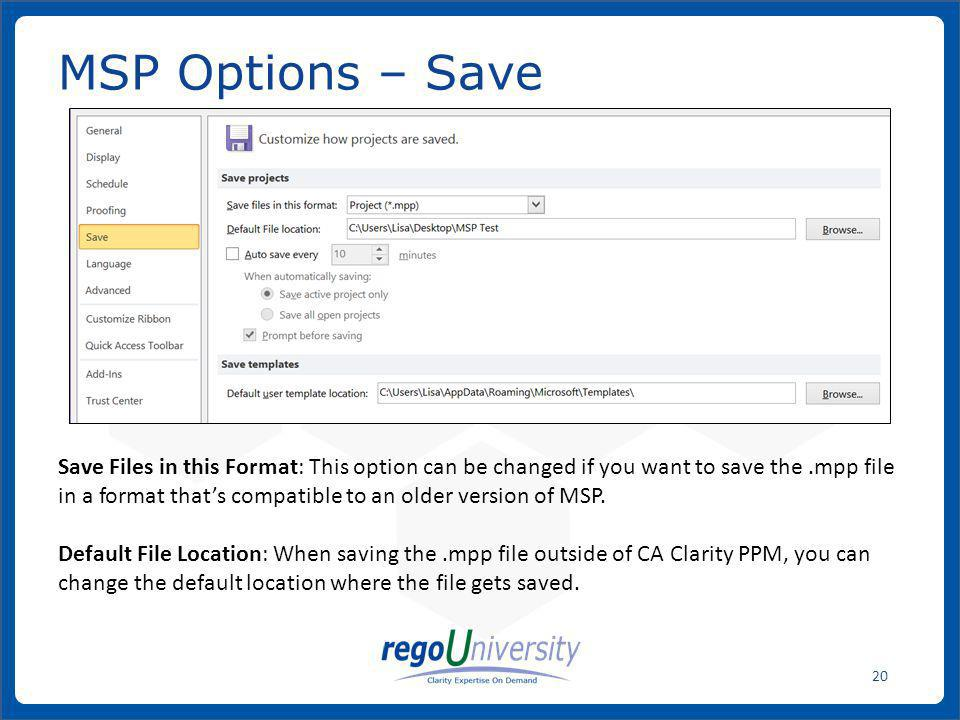 MSP Options – Save