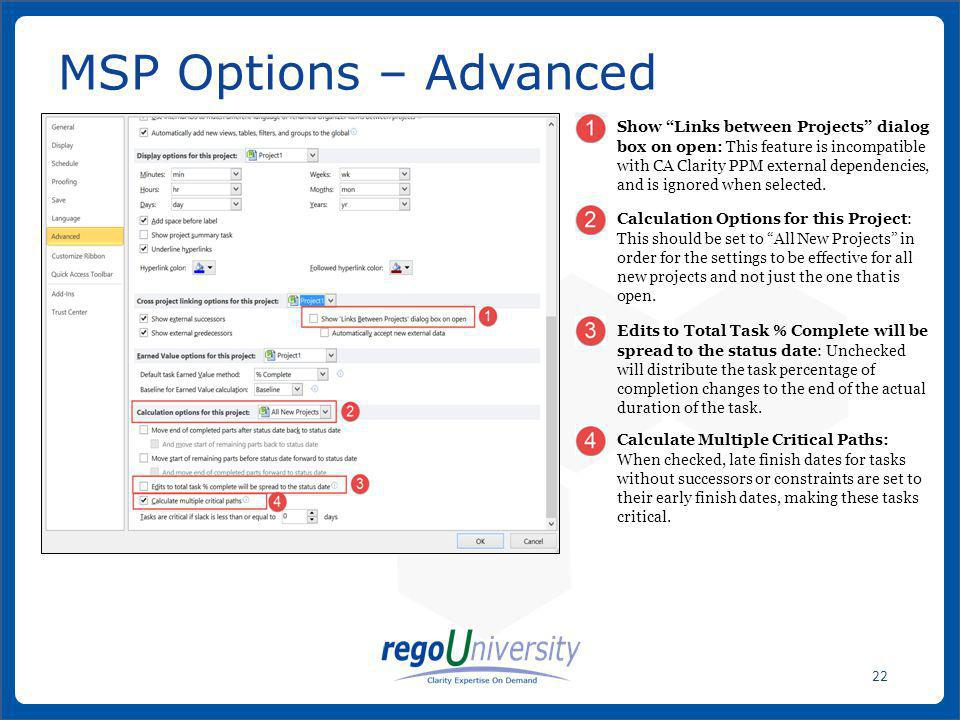 MSP Options – Advanced